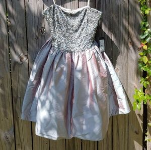 Adrianna Papell grey green strapless dress